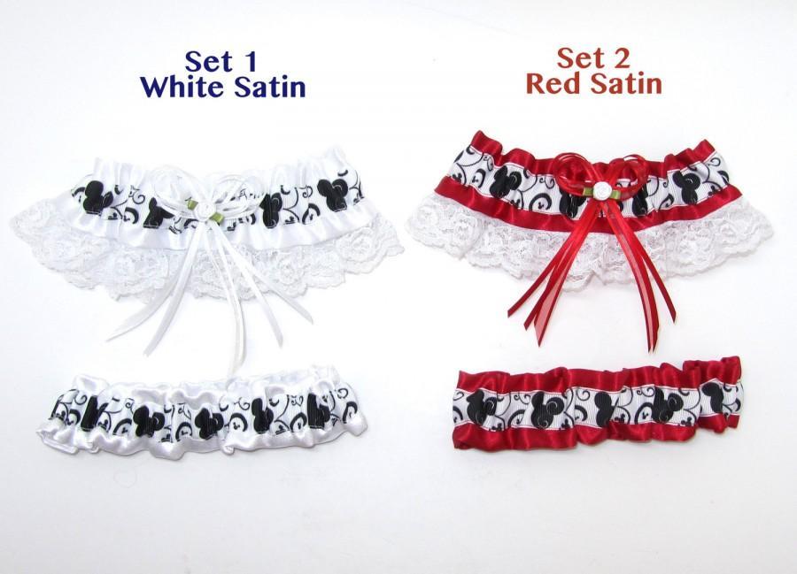 Свадьба - Mickey Mouse Garter Set Keepsake and Tosser Disney Style Themed Wedding Add a Mickey Rhinestone Charm