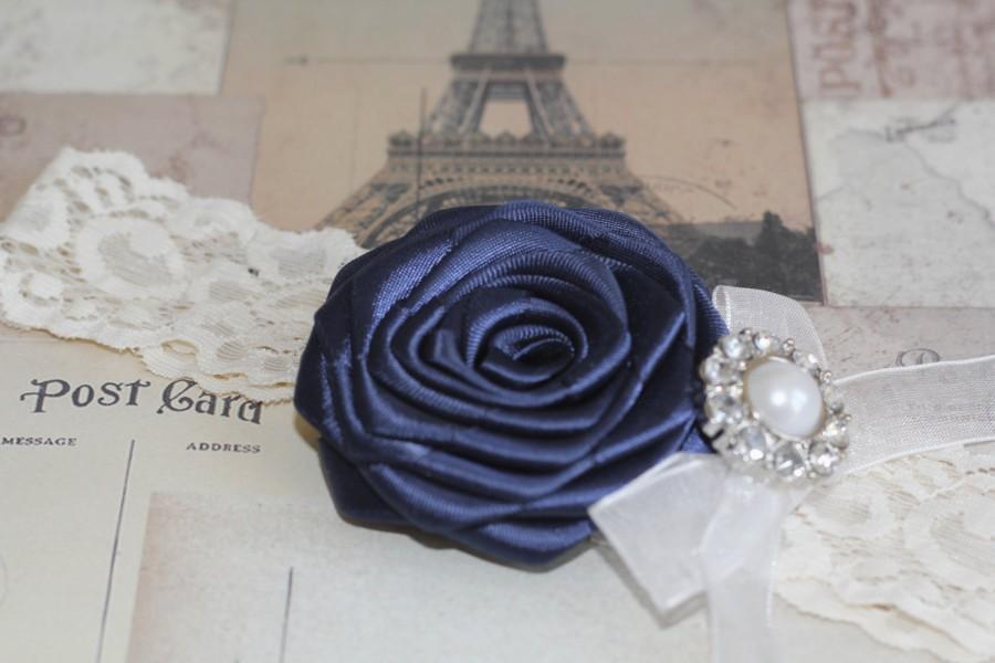 Свадьба - HELENA: Navy Blue Wedding Garter. Something Blue.