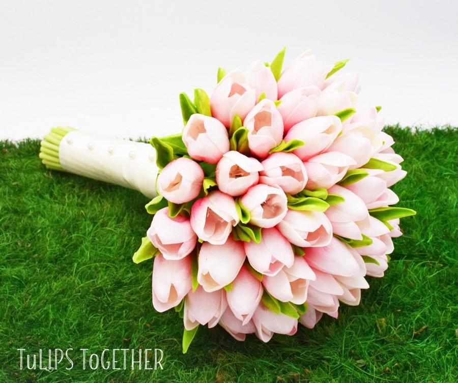 Свадьба - Pink Real Touch Tulip Wedding Bouquet - Ready for Quick Shipment 3 Dozen Tulips Customize Your Wedding Bouquet - Bridal Bridesmaid Bouquet