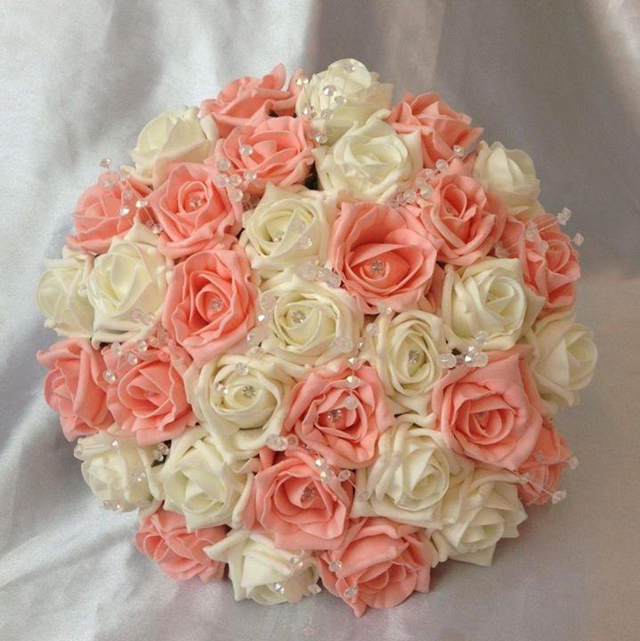 Mariage - Bridal hand tied peach and ivory diamante foam rose bouquet