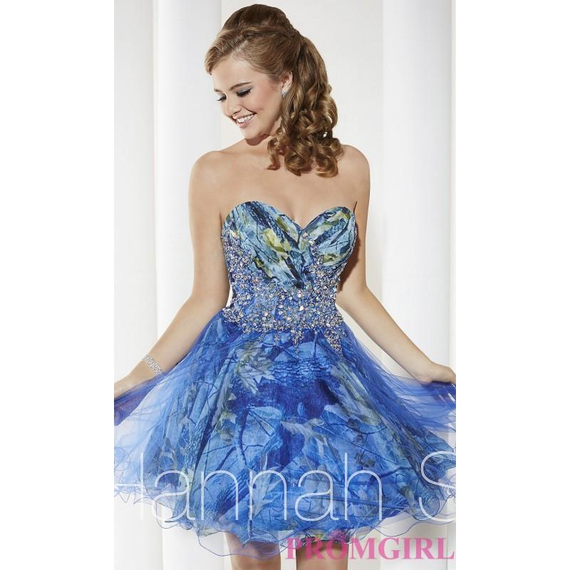 Wedding - Strapless Sweetheart Print Babydoll Dress by Hannah S - Brand Prom Dresses