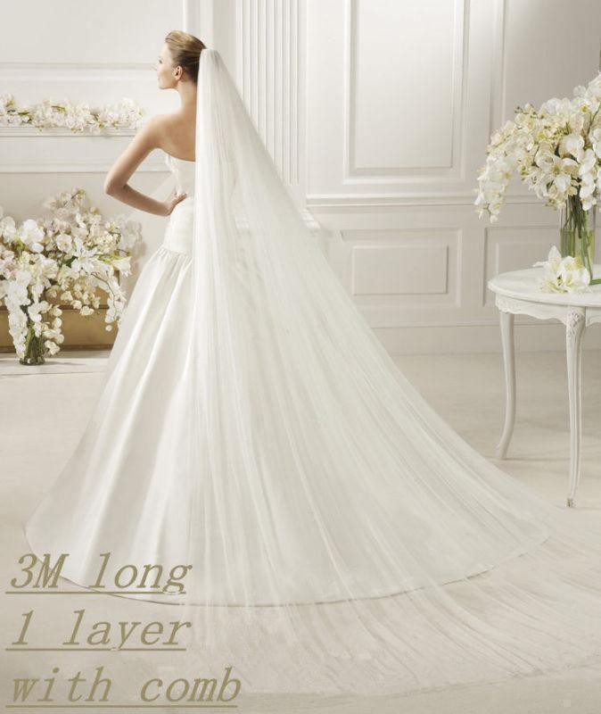 Mariage - Single Layer Cathedral Length Veil - wedding, white, ivory, soft white, clean cut edge veil