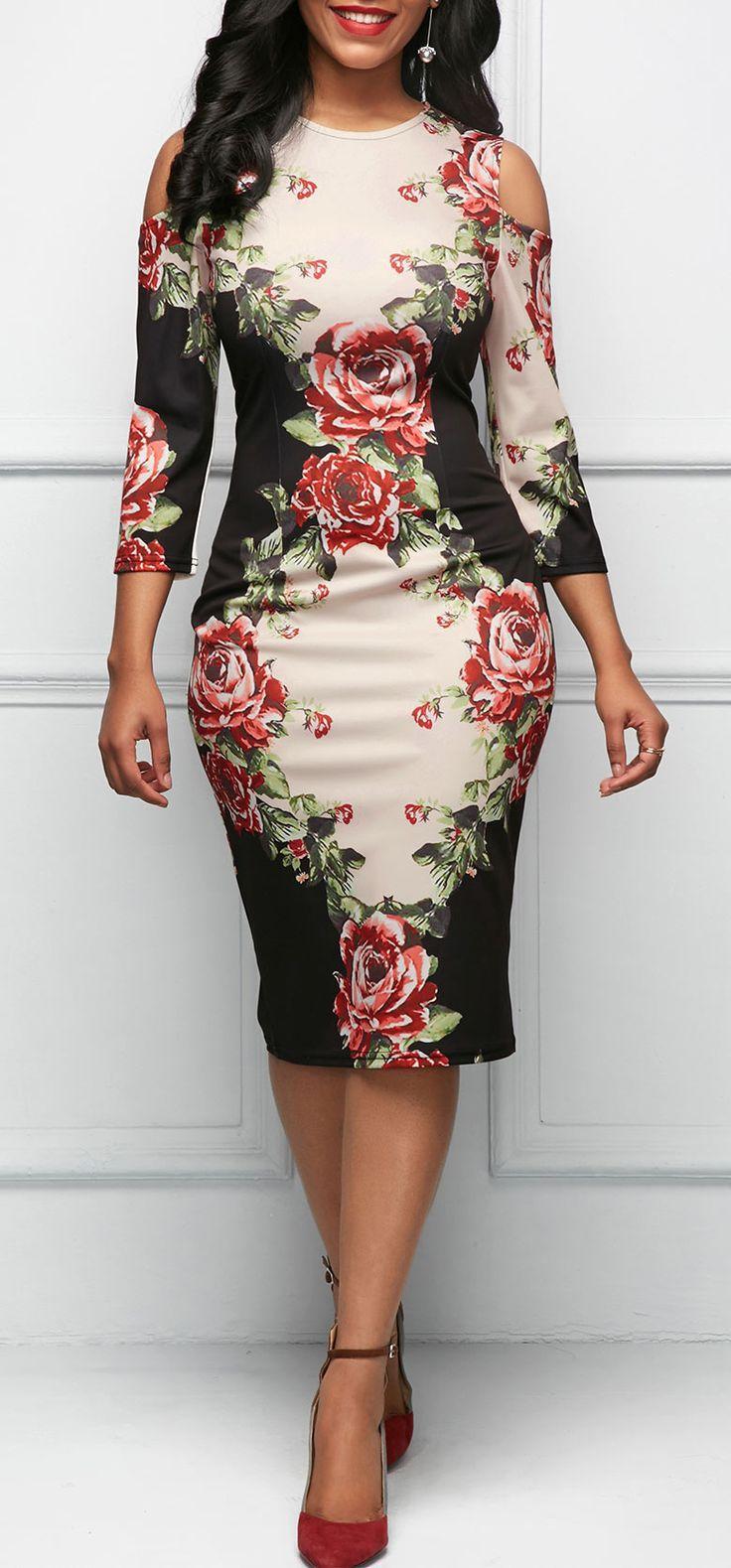 Свадьба - Three Quarter Sleeve Cold Shoulder Flower Print Dress