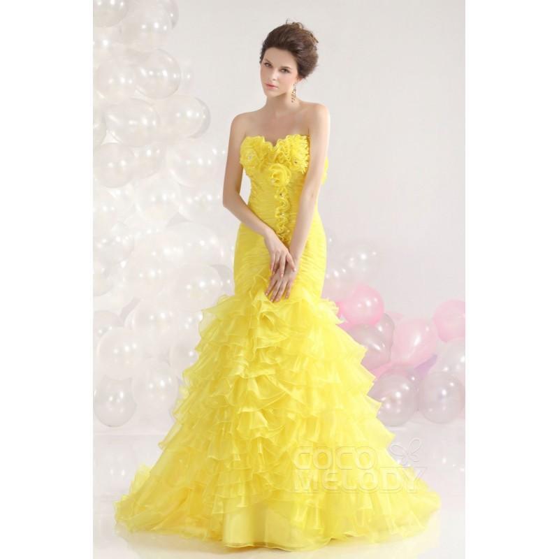 Свадьба - Glorious Trumpet-Mermaid Sweetheart Sweep-Brush Train Organza Custard Evening Dress COLT13014 - Top Designer Wedding Online-Shop