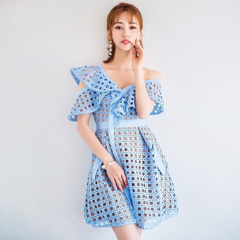 Mariage - Attractive A-line High Waisted Frilled Lace Formal Wear Dress - Bonny YZOZO Boutique Store