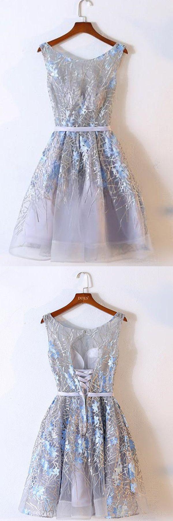زفاف - A-Line Scoop Above-Knee Grey Organza Homecoming Dress With Embroidery TR0203
