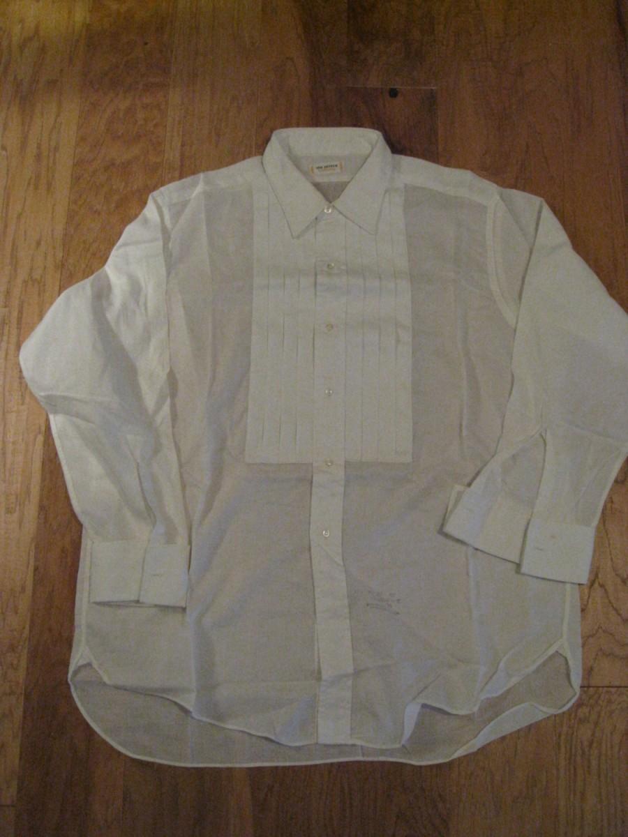 Düğün - 1970s White Van Heusen NOS Collarite Mens Tuxedo Shirt/ Vintage Tux Shirt/ Mens Vintage Dress Shirt / Size 16/32