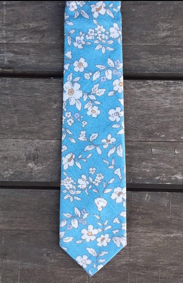 Wedding - Blue & White Floral Skinny Tie, Free Shipping
