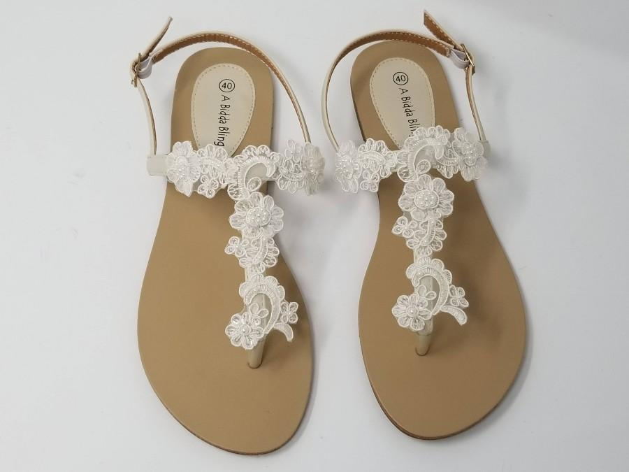 Ivory Wedding Sandals With Lace And Pearls Ivory Wedding Shoes ...