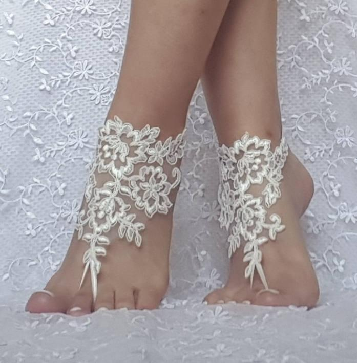 beb6db2de6a227 Free ship ivory Beach wedding barefoot sandals wedding shoe prom party bridal  barefoot sandals beach anklets