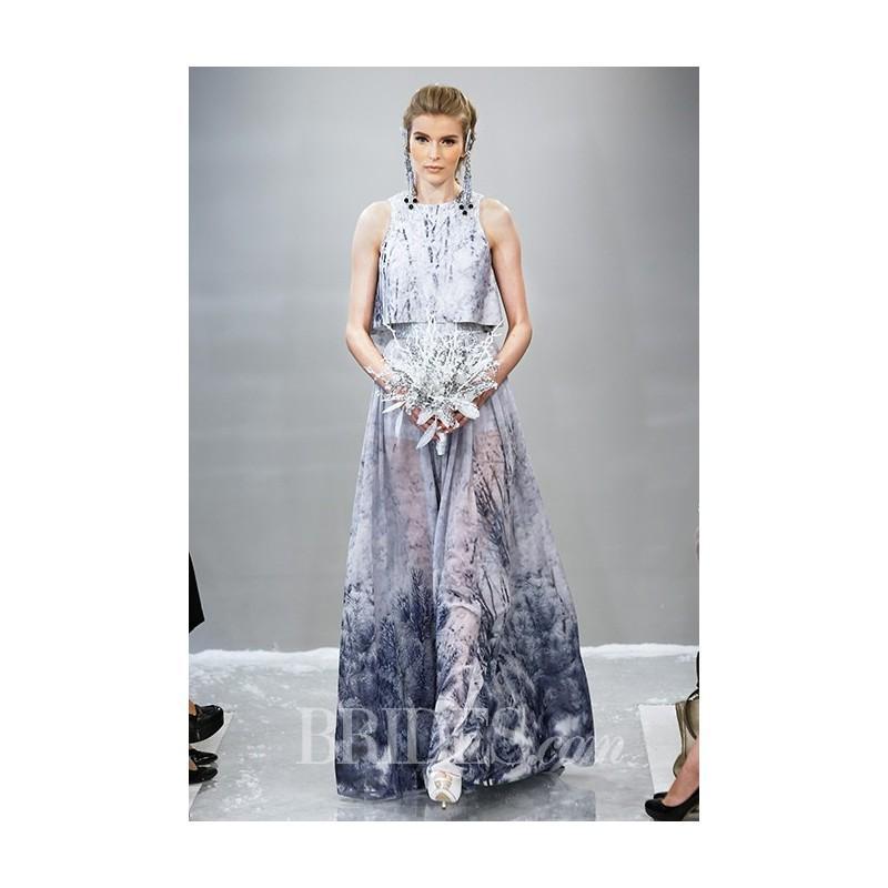 Theia - Fall 2015 - Silvia Sleeveless Printed Chiffon A-Line Gown ...