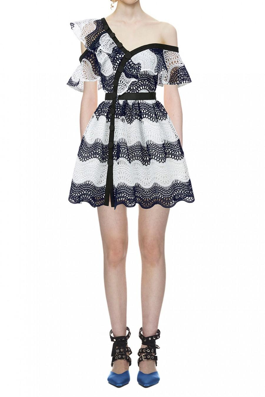 Mariage - Self Portrait Wave Guipure Lace Frill Mini Dress