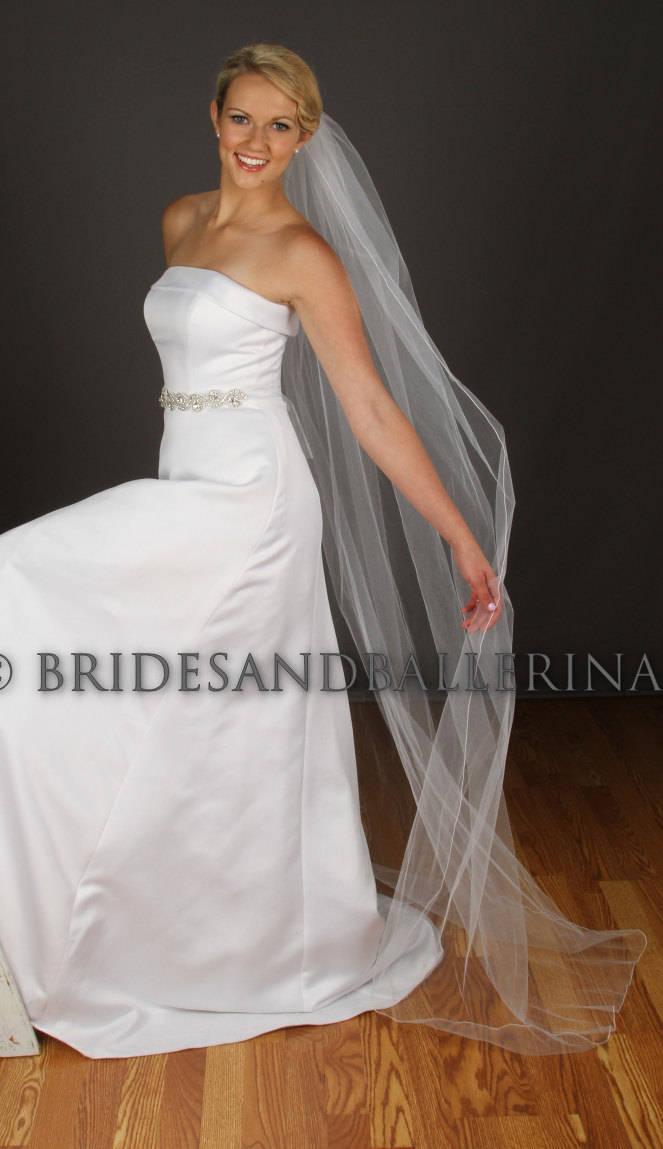 Hochzeit - Long Wedding Veil, Floor Length Veil, Simple Wedding Veil, Cathedral Veil, Veil Chapel Length, Pencil Edge Veil - Any Length, Fast Shipping!
