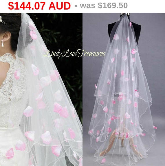 Hochzeit - Christmas Sale 3M Wedding Bridal White Veil Pink Flower Petals, White Tulle Drop Veil, Wedding Veil w/ Petals, White Wedding Veil with Pe...