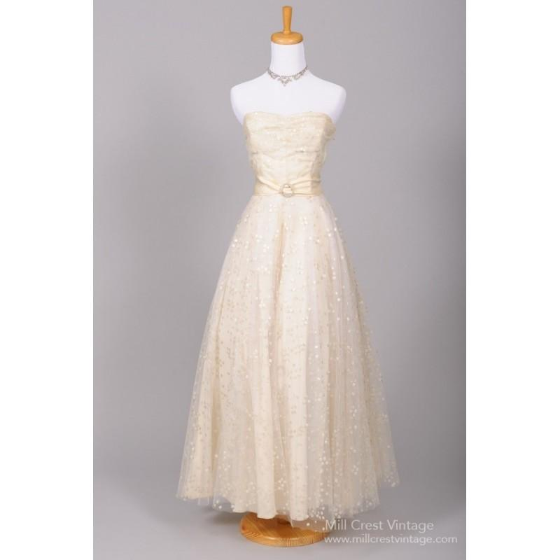 Mill Crest Vintage 1940 Dotted Sequin Vintage Wedding Gown - Wedding ...