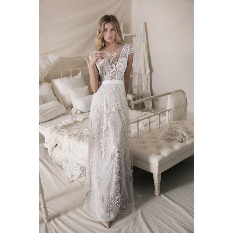 Wedding - Lihi Hod Fall/Winter 2018 Celia Sweep Train Vintage Ivory Column Illusion Cap Sleeves Beading Lace Fall Wedding Gown - Formal Day Dresses