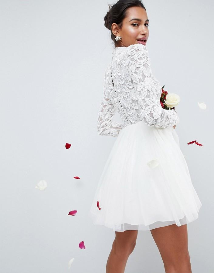 Hochzeit - ASOS BRIDAL Embellished Bodice Tulle Mesh Mini Dress