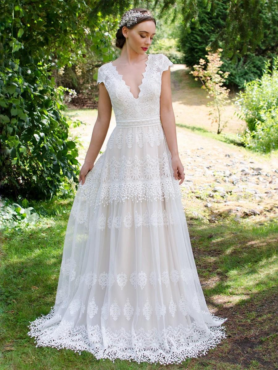 Bohemian Wedding Dress, Boho Wedding Dress, Lace Wedding Dress, Cap ...