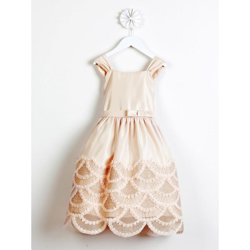 Mariage - Champagne Dress  Rosette & Cord Embroidered Scallop Skirt Style: DSK491 - Charming Wedding Party Dresses