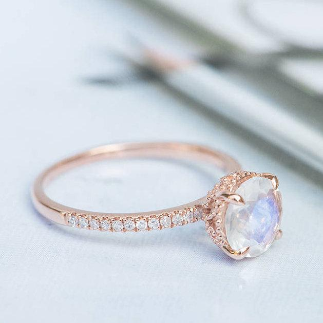 moonstone engagement ring art deco wedding ring round cut