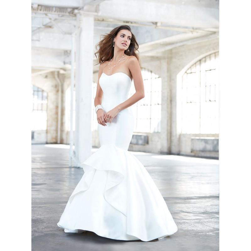 Wedding - Madison James Spring/Summer 2017 MJ320 Mermaid Sweet Strapless Sleeveless Chapel Train Ivory Satin Ruffle Bridal Gown - 2018 Unique Wedding Shop