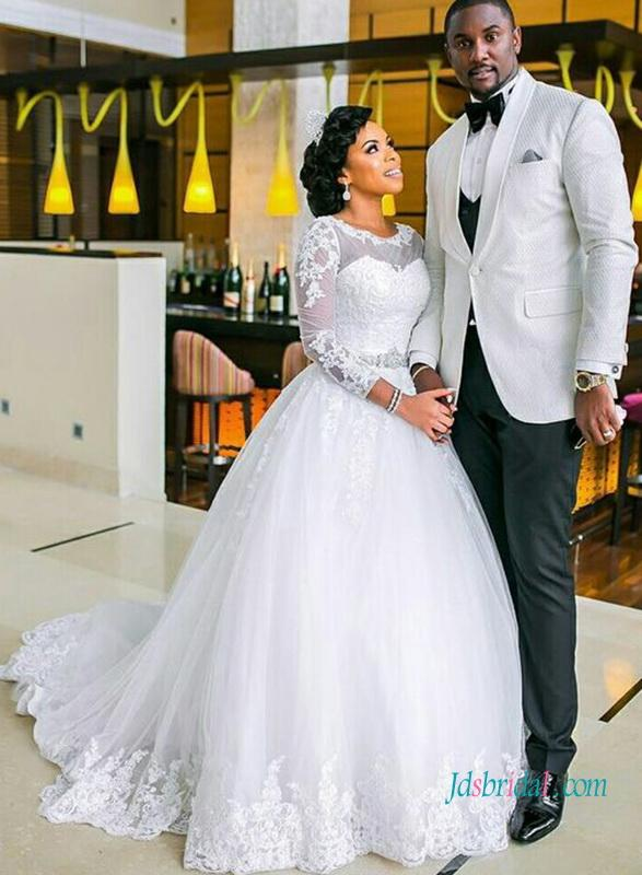 H1022 Modest Long Sleeved Lace Ball Gown Wedding Dress 2810441