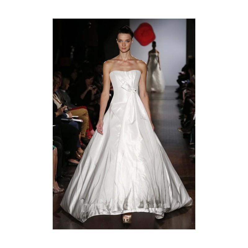 Hochzeit - Austin Scarlett - Fall 2013 - Meadow Strapless Silk Taffeta Drop Waist A-Line Wedding Dress with Hand Painted Skirt - Stunning Cheap Wedding Dresses