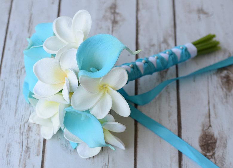 Wedding - Wedding Turquoise Teal Natural Touch Callas and Plumerias Silk Flower Small Bridesmaid Bride Bouquet