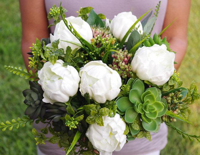 Hochzeit - Bouquet of Silk Peonies and Succulents Off White Natural Touch Flower Wedding Bride Bouquet - Almost Fresh