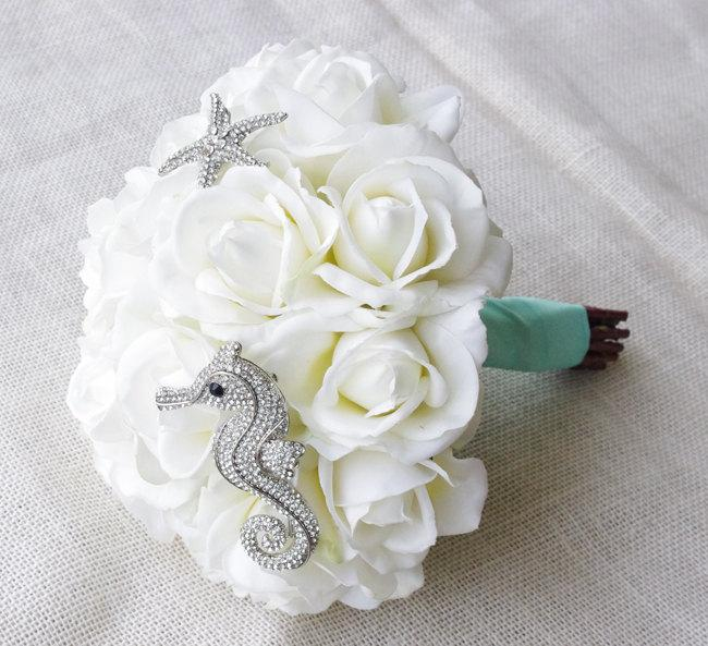 Mariage - Beach Glam Seahorse Starfish Brooch Wedding Bouquet - Silk White Roses & Jewel Bride Bouquet - Natural Touch Roses