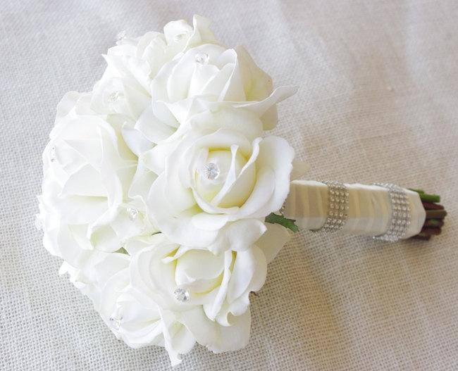 Wedding - Silk Wedding Bouquet - Natural Touch Off White Ivory Roses and Crystals Silk Flower Bride Bouquet - Almost Fresh