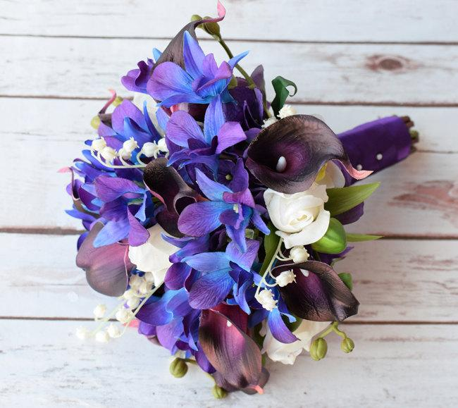 Wedding Bouquet With Plum Callas, Blue Purple Orchids, Off White ...