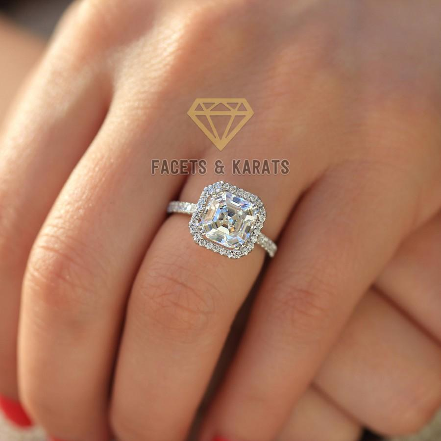rare one cut asscher pave double jewelry solitaire diamond earth rings engagement ring products prong gold rose forever accented moissanite wedding