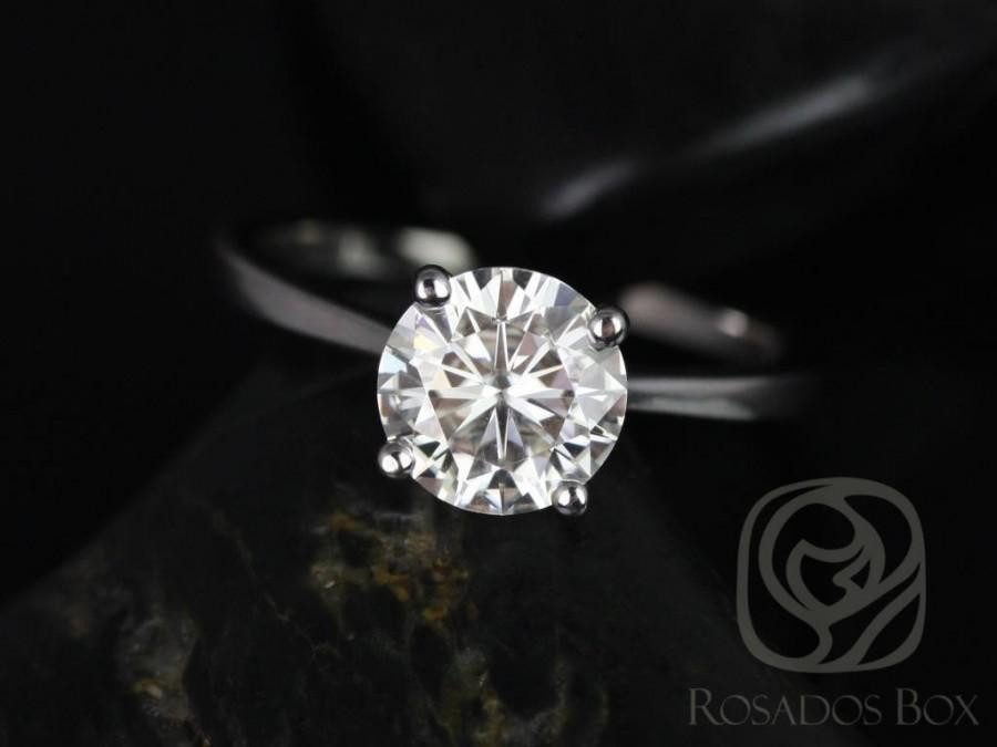 Hochzeit - Rosados Box Skinny Flora 8mm 14kt White Gold Round F1- Moissanite Tulip Cathedral Solitaire Engagement Ring