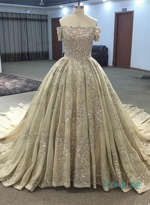 H1021 Gold Champagne Colored Cinderalla Ball Gown Wedding Dress