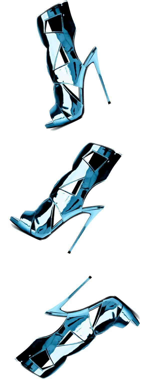Hochzeit - Bright Blue Cut Out Stiletto Heel Dress Sandals