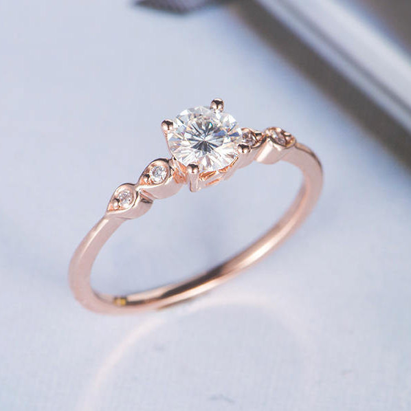 Свадьба - Moissanite Engagement Ring Rose Gold Diamond Wedding Ring Bridal Antique Round Cut Unique Promise Women Tear Shaped Gift for Her