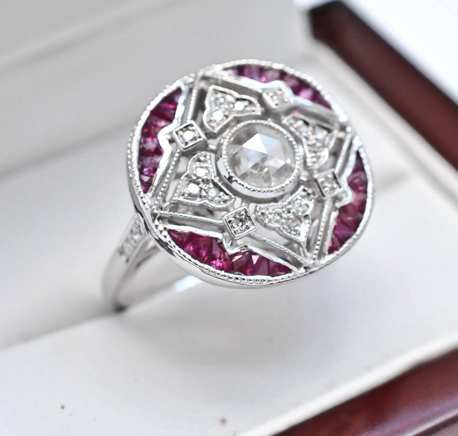 زفاف - Art Deco Engagement Ring 14k White Gold 1.08ctw Genuine Old Rose Cut Diamond & Genuine Red Ruby Statement Engagement Ring 3.4g sz 6.75