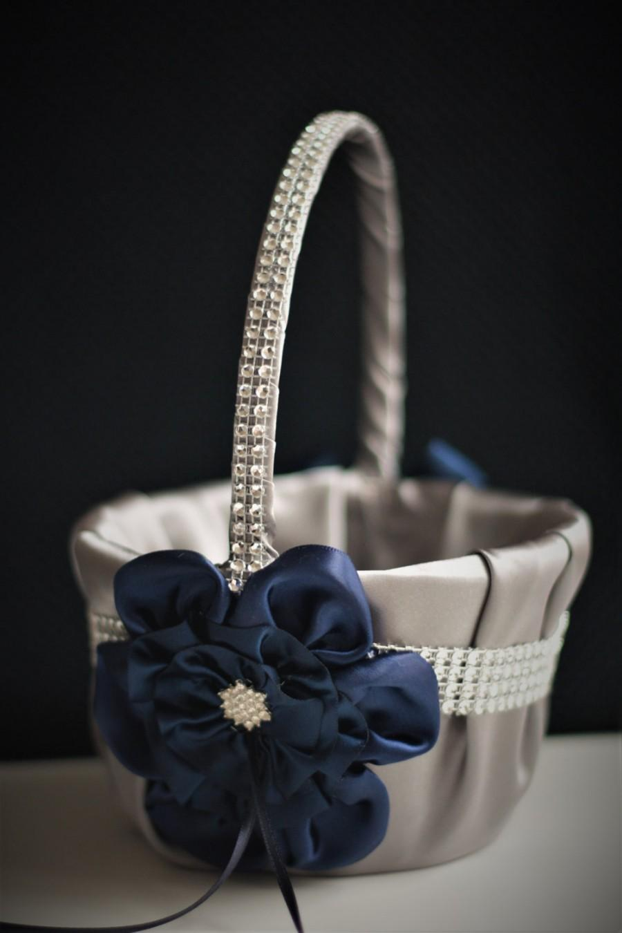 Wedding - Flower Girl Basket Navy Wedding Basket Navy Gray Wedding Basket Gray Flower Girl Navy Basket Pillow Set Navy Petal Basket Ring Bearer Pillow - $28.00 USD