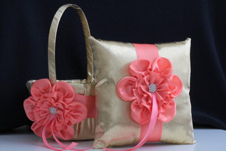 Mariage - Coral Flower Girl Basket / Coral Wedding Basket / Coral Gold Wedding Basket / Coral Gold Basket Pillow Set / Coral Ring Bearer, Coral Basket - $28.00 USD