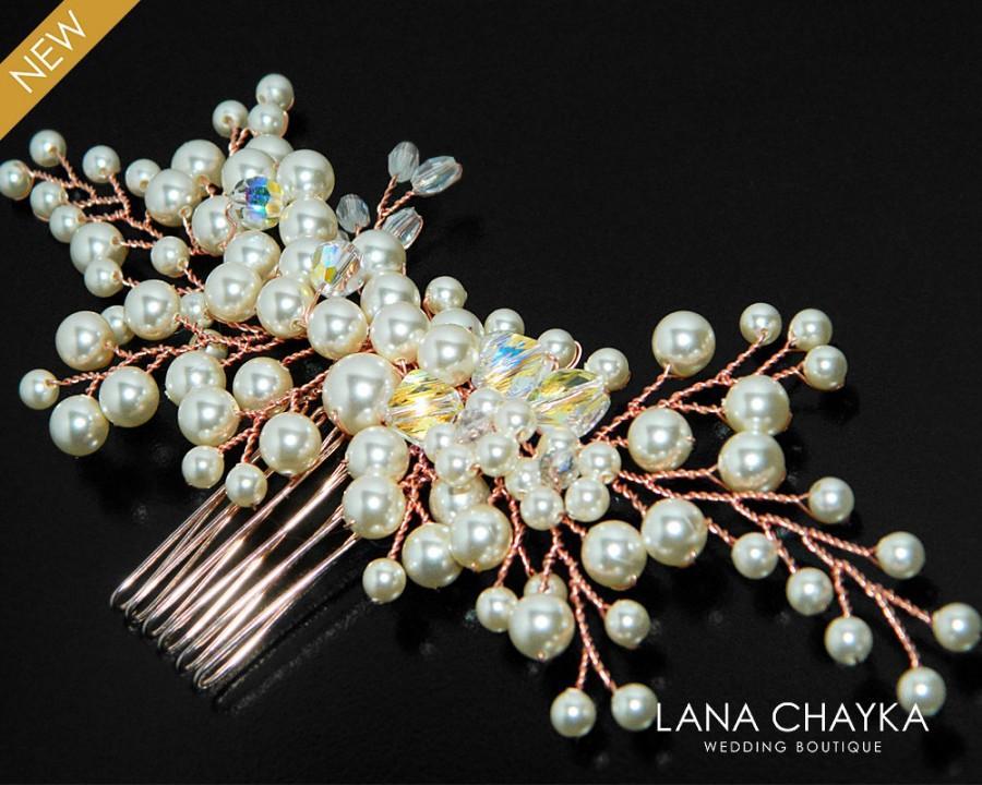 Wedding - Rose Gold Pearl Bridal Hair Comb, Wedding Floral Hair Piece, Swarovski Ivory Pearl Pink Gold Hair Comb, Beach Rose Gold Pearl Hair Jewelry - $31.50 USD