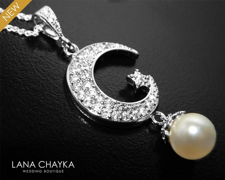 زفاف - Moon Star Silver Necklace, Crescent Moon Swarovski Ivory Pearl Necklace, Moon Star Pearl Pendant, Bridal Bridesmaids Pearl Moon Necklace - $29.90 USD