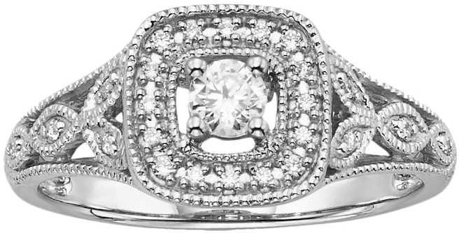 زفاف - Simply Vera Vera Wang Diamond Halo Engagement Ring in 14k White Gold (1/4 ct. T.W.)