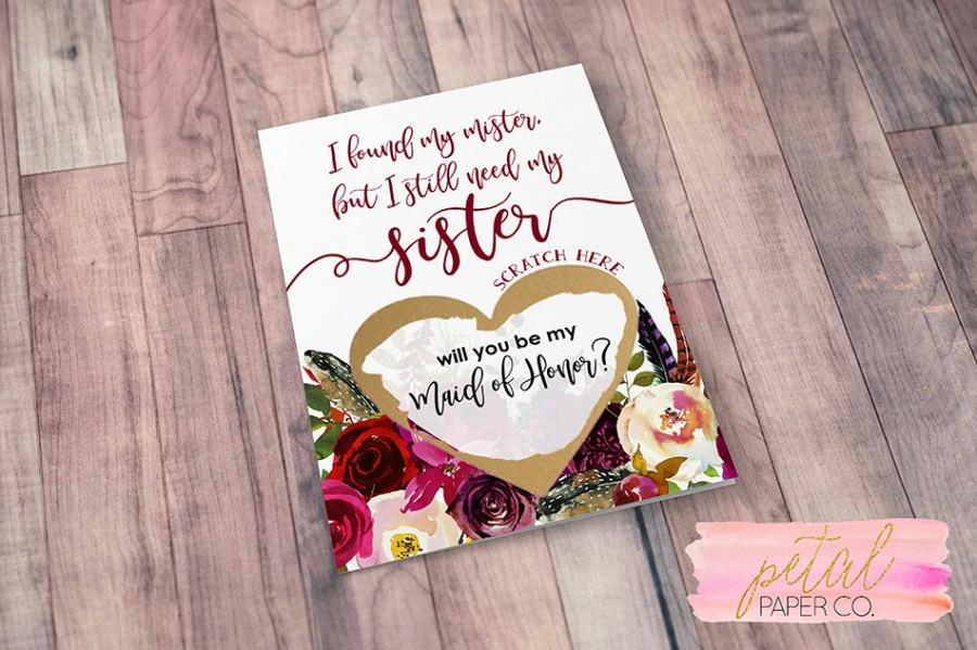 زفاف - Scratch Off I found my mister but I still need my sister Card - Sister Maid of Honor, Bridesmaid Proposal Card with Metallic Envelope