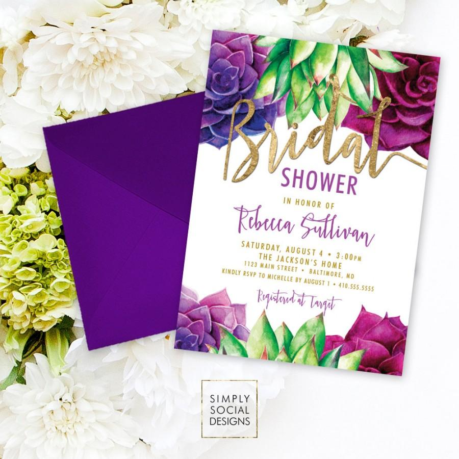 Wedding - Succulents Bridal Shower Invitation - Purple and Green Succulent and Faux Gold Foil Watercolor Floral Boho Shower Invitation Printable