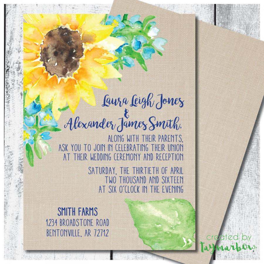 Hochzeit - Rustic sunflower wedding invitation - sunflower wedding invitation - country wedding invitation - printable sunflower invitation - burlap
