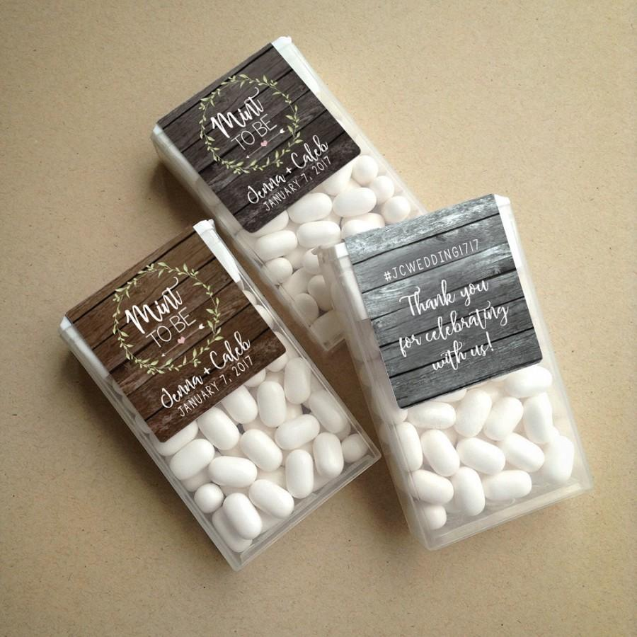 Hochzeit - Wraparound Rustic Barn Wood & Wreath Mint to Be Tic Tac Favor LABELS • Tic Tac Labels • Mint To Be • Mint to Be Favor Labels • Mints