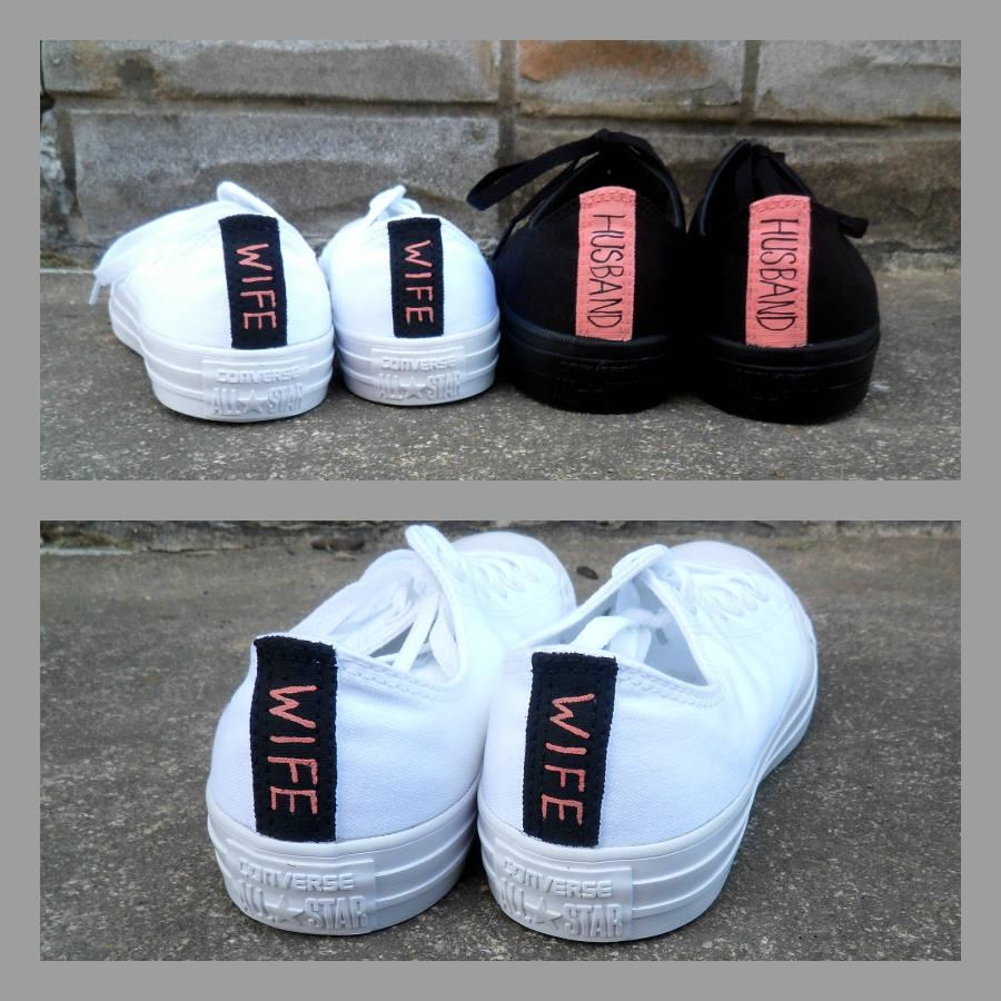 d9821485e4a9 Wedding Shoes Husband and Wife Monochrome Shoes All White Wedding Shoes  Groom s All Black Converse Men and Women s Converse Bridal Shoes