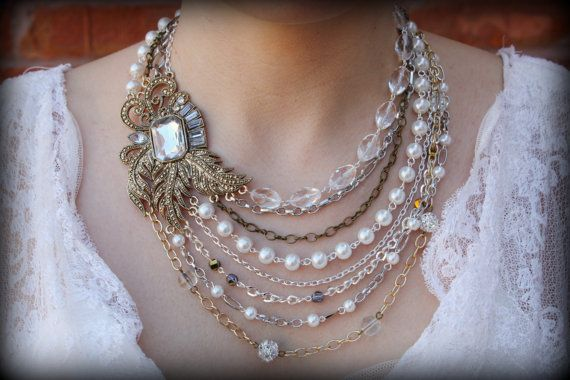 Mariage - Pearl Statement Necklace-Vintage Necklace-Bib Necklace-Wedding Jewelry-Bridal Necklace-Rhinestone Brooch-Pearl Necklace-Dream Day Designs