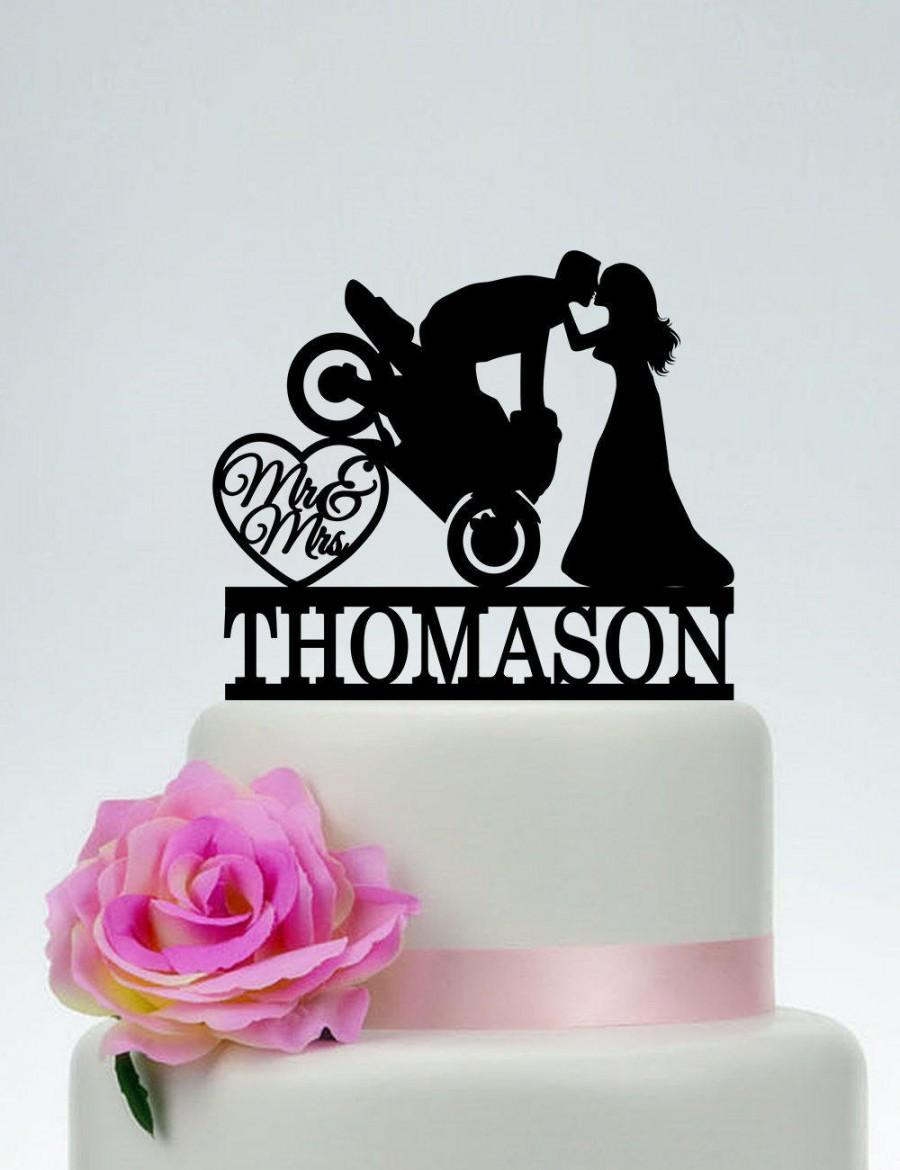Motorcycle Wedding Cake Topper Mr And Mrs Cake Topper Groom On Motorcycle Custom Cake Topper Funny Cake Topper Motorbike Cake Topper C187 2811121 Weddbook